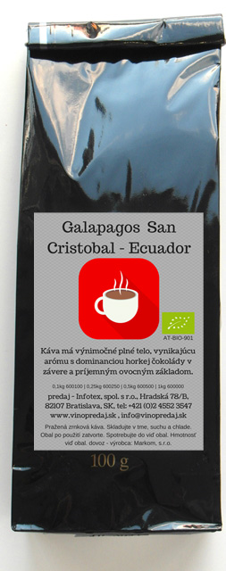 Ecuador Glapagos San Cristobal pražená káva, coffee 100g