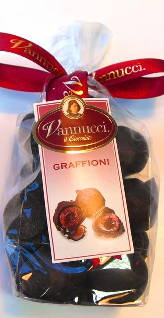 GRAFFIONI višne rum čokoláda Vannucci Taliansko 200g