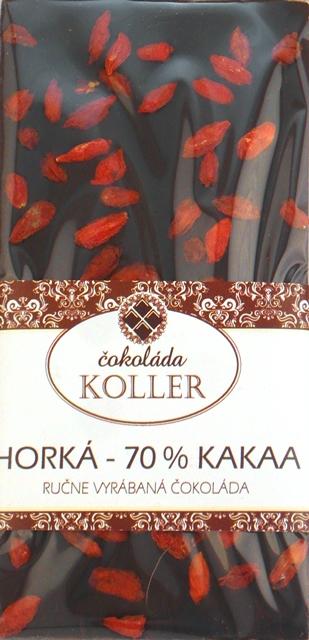 HORKÁ ČOKOLÁDA 70 % s GOJI ručná výroba KOLLER 100g