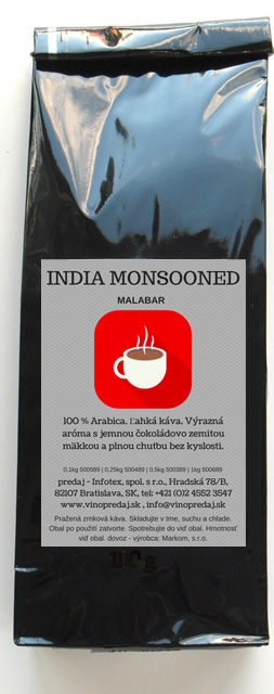 India Malabar pražená zrnková káva, coffee 250g
