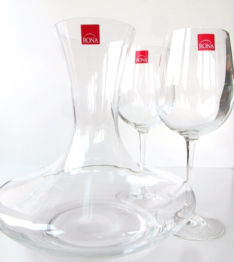 Karafa a 2 poháre Caraffe 2 glass RONA sklo 3 for 2 decanter