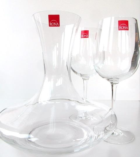 Karafa a 2 poháre Caraffe 2 glass RONA sklo 3 for 2 decanter