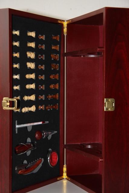 VYPREDANÉ - Krabica Obal Kazeta 2 fľaše víno drevený šach someli