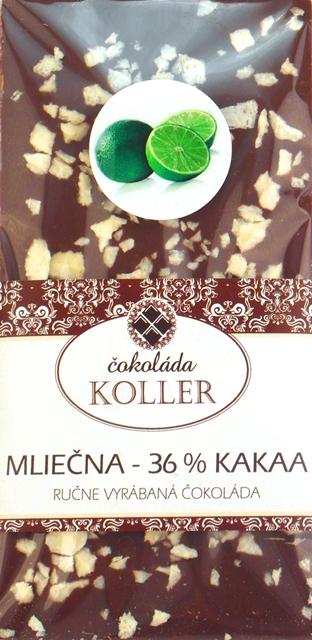MLIEČNA ČOKOLÁDA 36 % s limetkou ručná výroba KOLLER 100g
