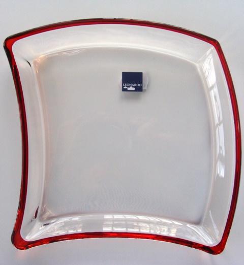 Miska - Tanier Leonardo sklenená číra červený dekoračný okraj