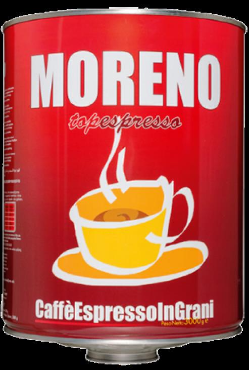 Moreno pražená zrnková káva 3 kg balenie.