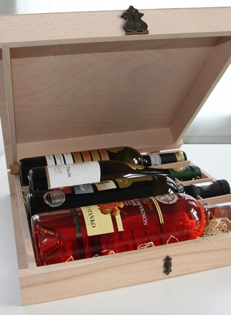 Obal Krabica Kufor Box Kazeta Kniha na 4 ks fliaš víno 6685