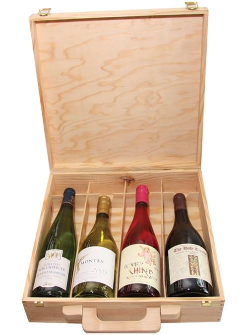 Krabica - Obal - Kazeta na 4 fľaše s vínom drevená 6545