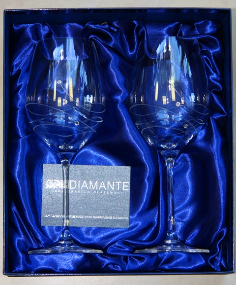POHÁR Kalich Čaša 470 ml Swarovski Elements Diamante Glassware