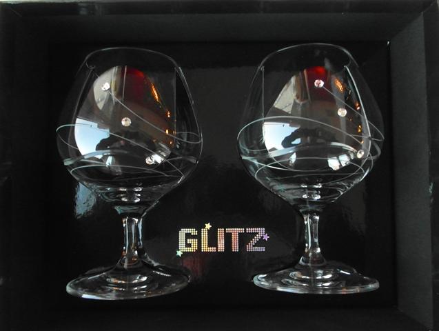 POHÁR Kalich Čaša Cognac Brandy Swarovski Elements Diamante Glas