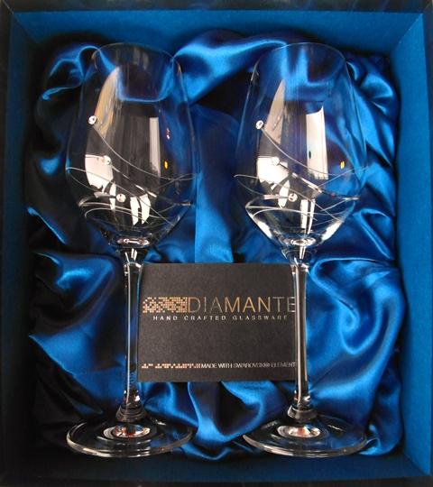 POHÁR Kalich Čaša 350 ml Swarovski Elements Diamante Glassware