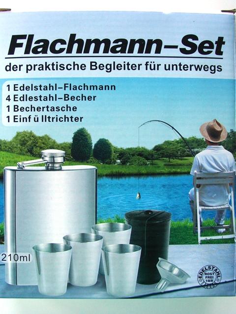 Ploskačka - likérka s pohármi kovová Flachmann-set