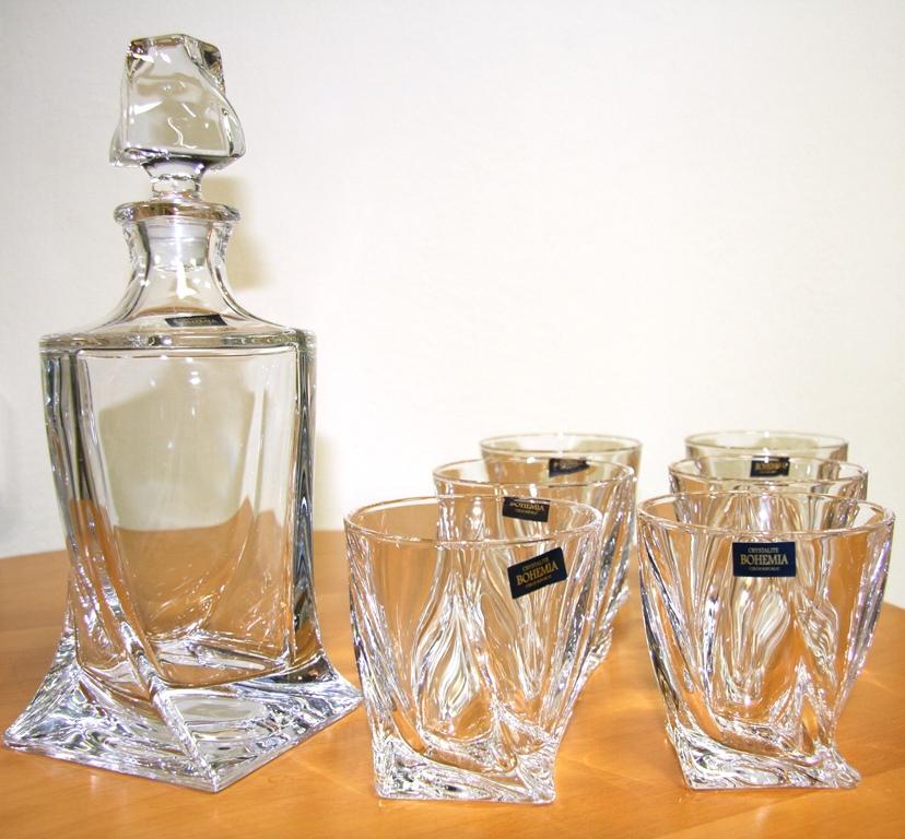Quadro WHISKY SET FĽAŠA 0,85 l , 6 ks poháre Crystalite Bohemia