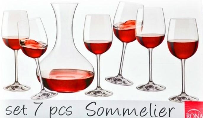 SOMMELIER RONA sada poháre wineglass karafa caraffe decanter 7ks