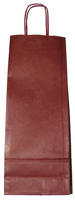 Taška papierová s uchom bordová na víno, fľašu, nápoj, darčeky